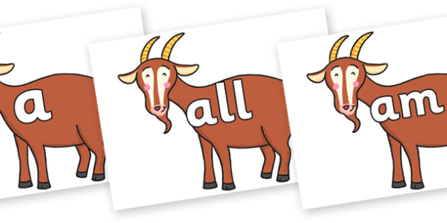 Foundation Stage 2 Keywords on Hullabaloo Goat to Support Teaching on Farmyard Hullabaloo - FS2, CLL, keywords, Communication language and literacy,  Display, Key words, high frequency words, foundation stage literacy, DfES Letters and Sounds, Letter