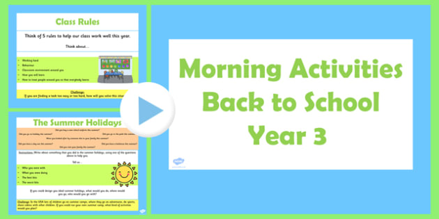Year 3 Back to School Morning Activities PowerPoint 1 Week - australia, morning, activities