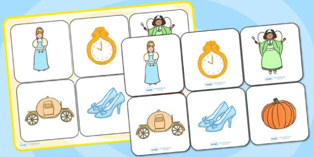 Cinderella Matching Cards and Board - cinderella, cinderella matching game, cinderella picture matching activity, cinderella image matching game, sen