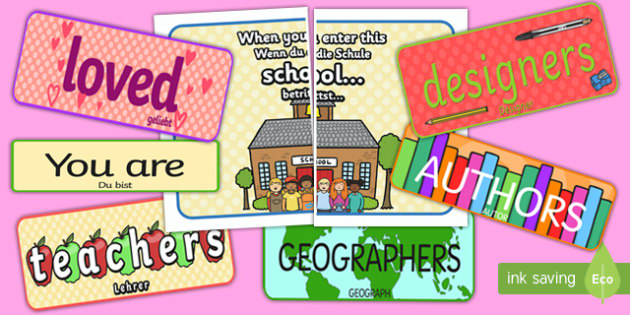 When You Enter this School Display Pack English/German