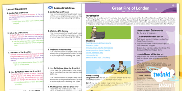 Planit - History KS1 - The Great Fire of London Planning Overview CfE - Curriculum for excellence, Scottish, history, KS1, key stage 1, topic, planning, unit, England, change,