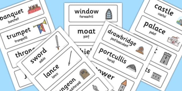 Medieval Castle Role Play Word Cards Romanian Translation - romanian