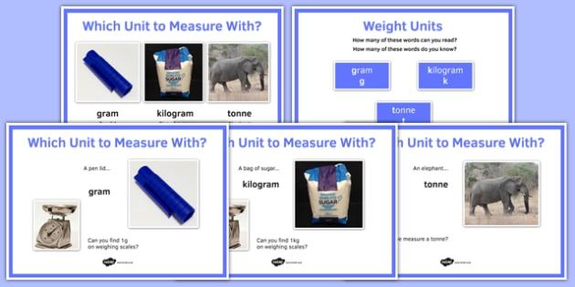 Maths Intervention Weight Unit Posters - SEN, special needs, intervention, maths, measure, weight