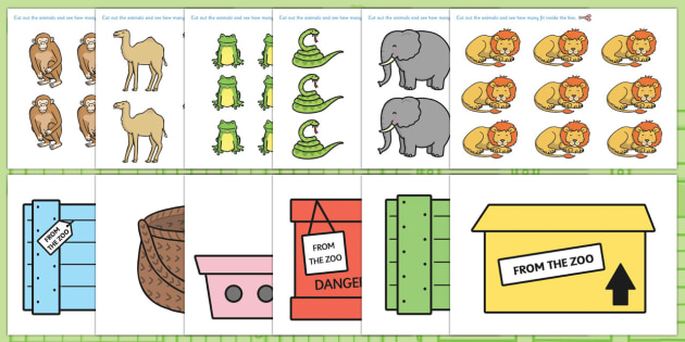 How Many Can We Fit in The Box Game to Support Teaching on Dear Zoo - dear zoo, how many in the box, counting, counting games, counting activities, numbers, math