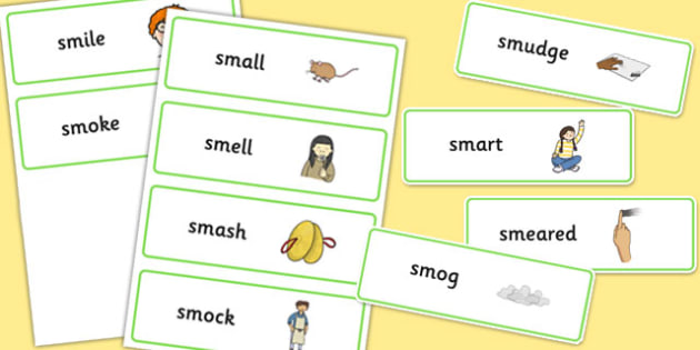 SM Word Cards - sm sound, word cards, word, cards, sound, sm, sen