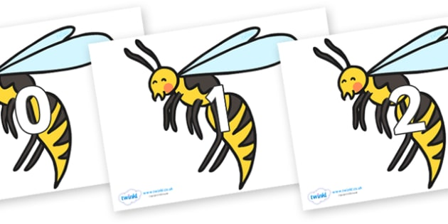 Numbers 0-31 on Wasps - 0-31, foundation stage numeracy, Number recognition, Number flashcards, counting, number frieze, Display numbers, number posters