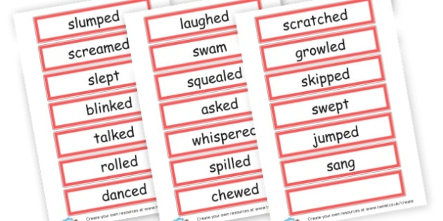 past tense verbs - Verb Primary Resources, verbs, noun, adjective, wow, keywords