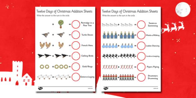 Twelve Days of Christmas Themed Addition Worksheets - christmas, adding