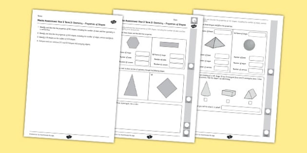 Year 2 Maths Assessment Geometry Properties of Shapes Term 2 - Maths, Assessment, Geometry, Shape