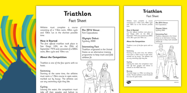 Rio 2016 Olympics Triathlon Fact Sheet - rio olympics, 2016 olympics, rio 2016, triathlon, fact sheet