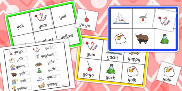 Initial y Sound Bingo and Lotto Game - sound, bingo, lotto, game