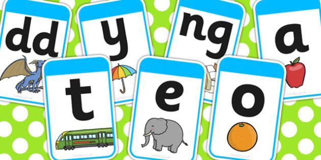 Yr Wyddor yn y Gymraeg - Phonemes, Phase 1, Phase one, A-Z, Mnemonic cards, DfES Letters and Sounds, Letters and sounds, Letter flashcards, Image and Word Cards,cymru