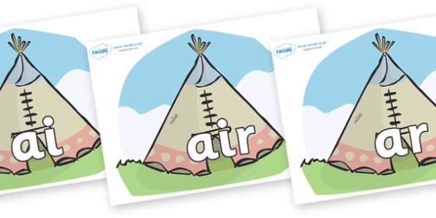 Phase 3 Phonemes on Tipis - Phonemes, phoneme, Phase 3, Phase three, Foundation, Literacy, Letters and Sounds, DfES, display