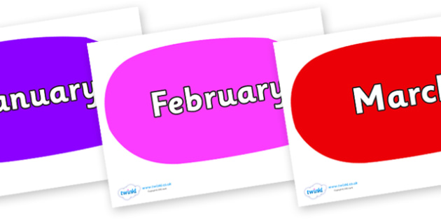 Months of the Year on Speech Bubbles (Multicolour) - Months of the Year, Months poster, Months display, display, poster, frieze, Months, month, January, February, March, April, May, June, July, August, September