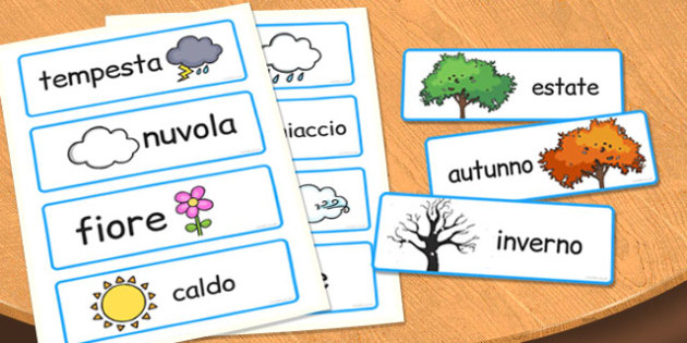Italian Season Word Cards - italian, season, word cards, cards