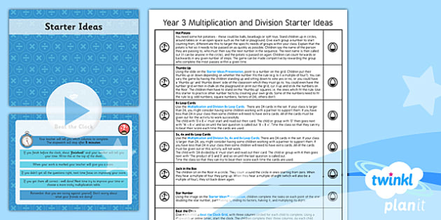 PlanIt Y3 Multiplication and Division Starter Ideas Pack - race against the clock, multiplication grid, loop cards, 3x, 4x, 8x, starter, mental oral starter, warm-up, M&O