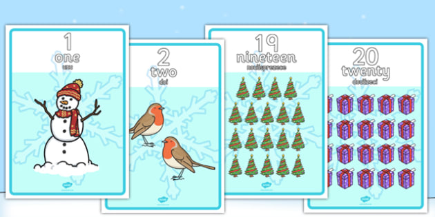 Winter Themed Number Posters 1-20 Words and Numbers Romanian Translation - romanian, winter, number, posters, display, 1-20, words