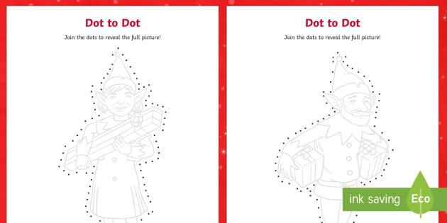 Elf Dot To Dots Activity Sheets