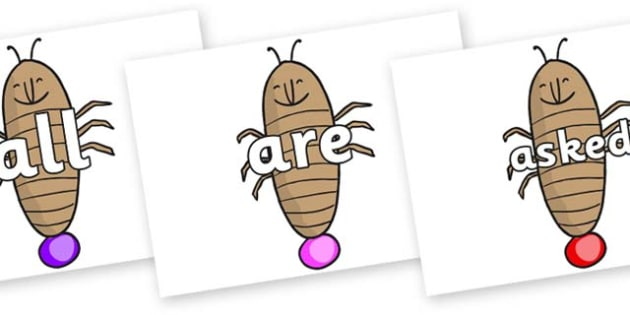 Tricky Words on Glowworm to Support Teaching on James and the Giant Peach - Tricky words, DfES Letters and Sounds, Letters and sounds, display, words