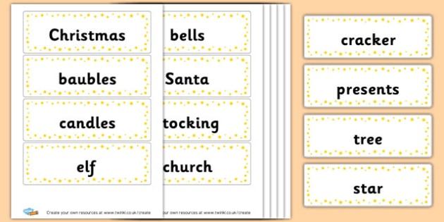 Christmas flash cards - Christmas Literacy Primary Resources, christmas, xmas, santa, tree