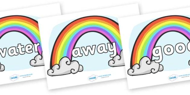 Next 200 Common Words on Rainbows - Next 200 Common Words on  - DfES Letters and Sounds, Letters and Sounds, Letters and sounds words, Common words, 200 common words