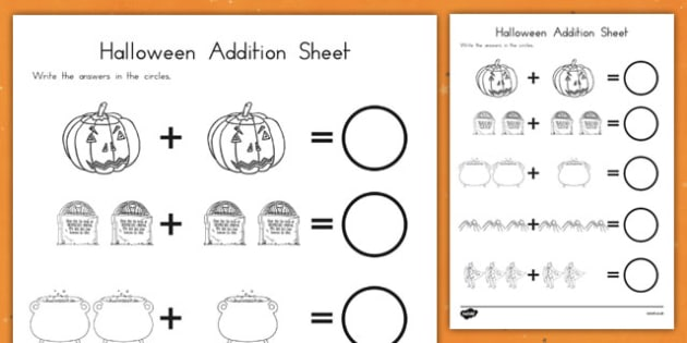 Halloween Addition Worksheet - american, us, addition, maths, adding up, counting, ks1, key stage 1