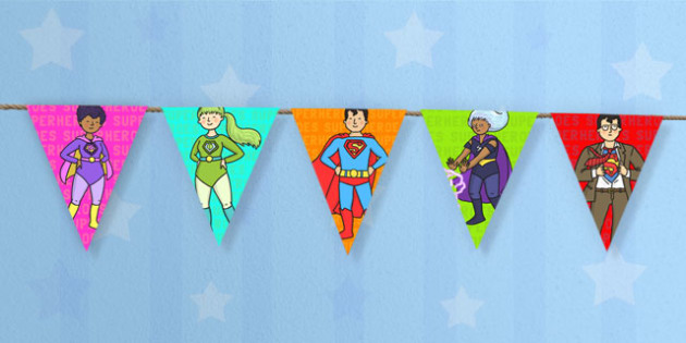 Superhero Themed Display Bunting - superheroes, bunting, flags