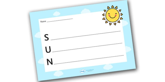 Sun Acrostic Poem Template - sun acrostic poem, weather acrostic poems, weather and seasons, sun acrostic template, sun poem template, sun, weather