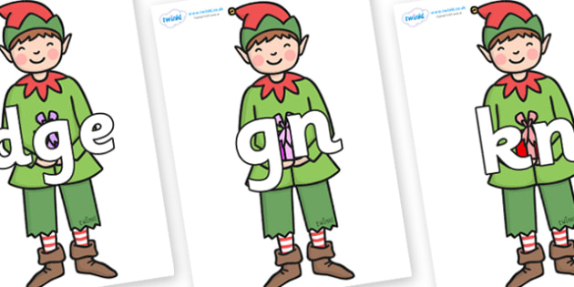 Silent Letters on Green Elf (Boy) - Silent Letters, silent letter, letter blend, consonant, consonants, digraph, trigraph, A-Z letters, literacy, alphabet, letters, alternative sounds