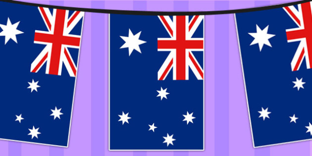 Australia A4 Flag Bunting - countries, geography, flags, country