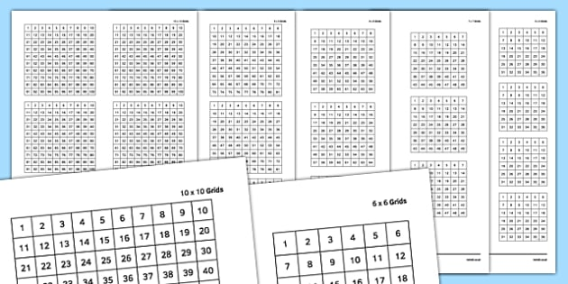 Number Squares 6x6 to 10x10 - number square, 6x6, 10x10, multiplication, times tables