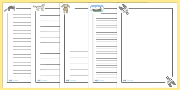 Native American Page Borders - Native Americans, page border, a4 border, template, writing aid, writing border, page template, Native Americans, indian, moccasin, bow and arrow, dream catcher, wild west
