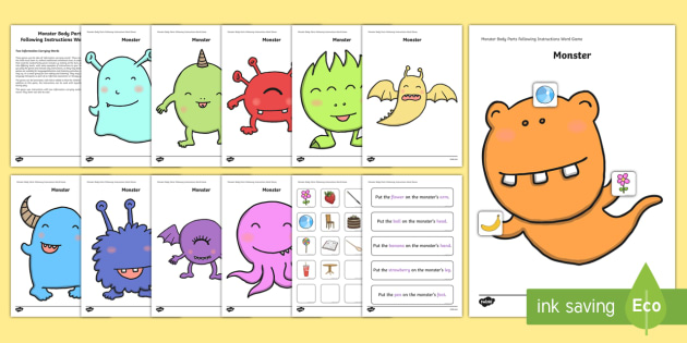 Monster Body Parts Following Instructions – 2 ICWs Game