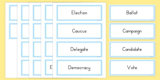 USA Election Vocabulary Word Cards - usa, america, US Resources, Election, Vocabulary