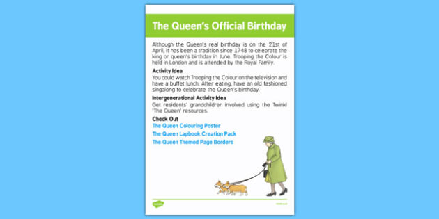 Elderly Care Calendar Planning June 2016 The Queen's Official Birthday - Elderly Care, Calendar Planning, Care Homes, Activity Co-ordinators, Support, June 2016