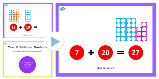 Year 2 Adding 2 Digit Numbers and Tens Not Crossing 100 With Same 10s Using Counting Shapes PowerPoint