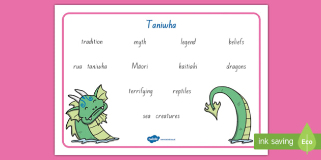 Taniwha Word Mat
