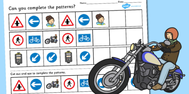 Road Safety Complete the Pattern Worksheet - road safety, pattern