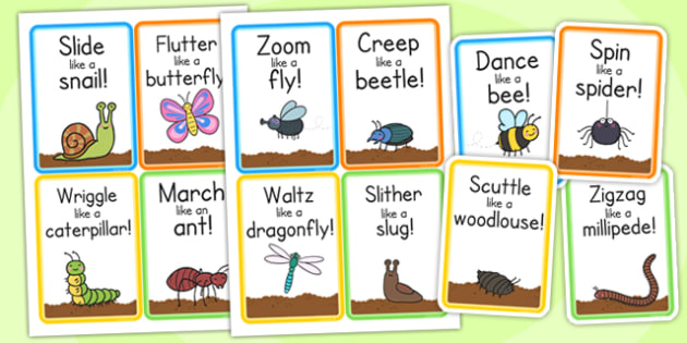 Minibeast Action Cards - minibeasts, games, game cards, pe, cards