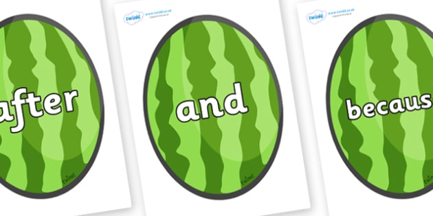Connectives on Melons (Vertical) - Connectives, VCOP, connective resources, connectives display words, connective displays