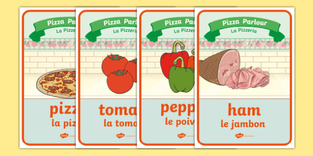 Pizza parlour role play posters English/French