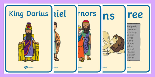 Daniel And The Lions Den Display Posters - Daniel and the Lions, Daniel, Lions, lion pit, display, banner, poster, sign, Babylon, King Darius, governors, God, pray, den, bible story, bible