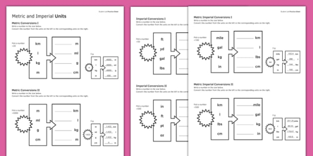 KS3_KS4 Maths Student-Led Practice Sheets Metric and Imperial Units - maths, KS3, KS4, GCSE, worksheet, practise, independent, growth mindset, measure, standard units, imperial units, conversion