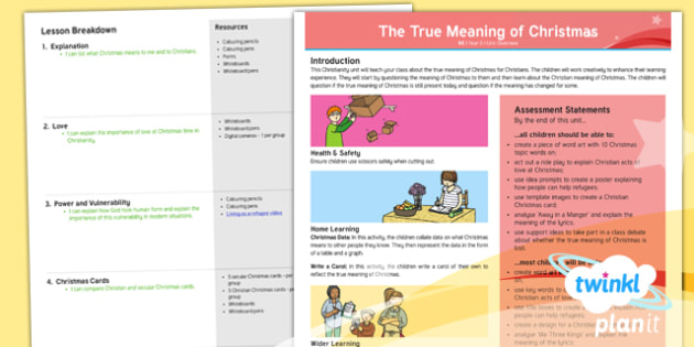 PlanIt - RE Year 5 - The True Meaning of Christmas Planning Overview