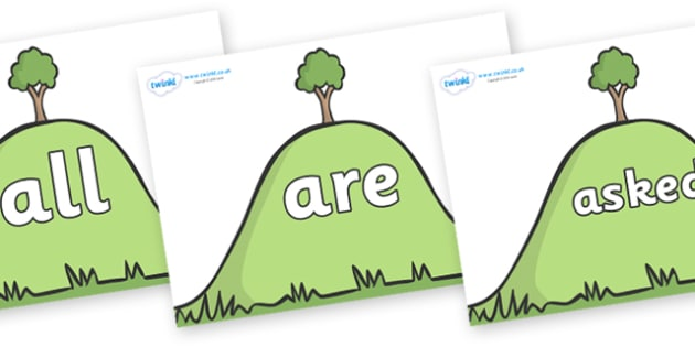 Tricky Words on Hills - Tricky words, DfES Letters and Sounds, Letters and sounds, display, words