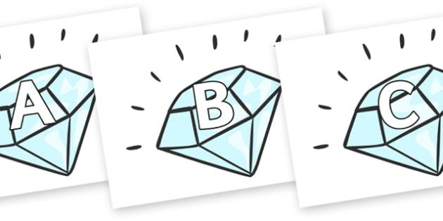 A-Z Alphabet on Diamonds - A-Z, A4, display, Alphabet frieze, Display letters, Letter posters, A-Z letters, Alphabet flashcards