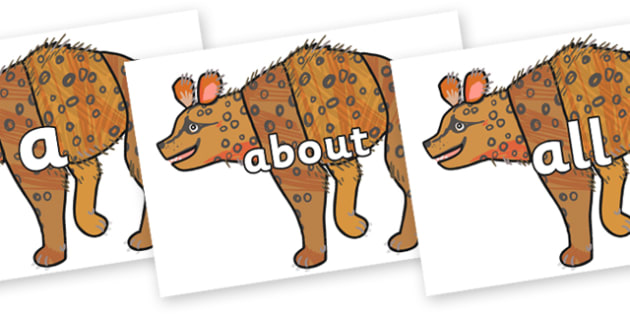100 High Frequency Words on Hyena to Support Teaching on The Bad Tempered Ladybird - High frequency words, hfw, DfES Letters and Sounds, Letters and Sounds, display words