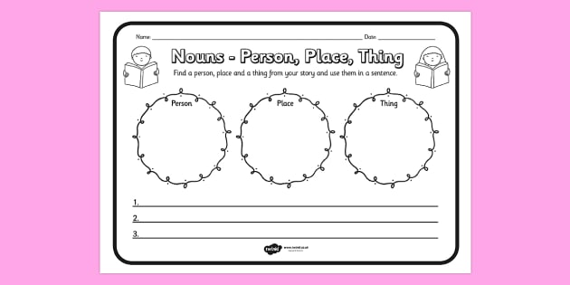 Nouns Person Place Thing Comprehension Worksheet - comprehension
