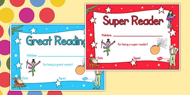 Roald Dahl Themed Reading Certificates - rewards, awards, read