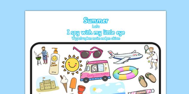 Summer Themed I Spy With My Little Eye Activity Polish Translation - seasons, beach, bilingual